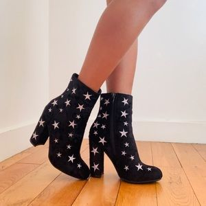 BLACK SUEDE STAR BOOTIES